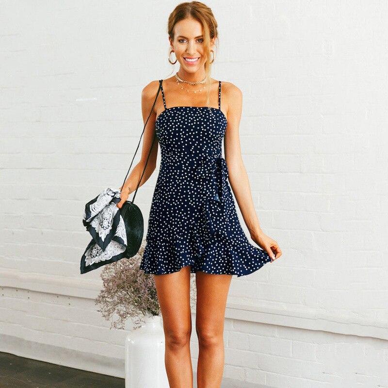 Women Summer Casual Short Sleeveless Evening Party Short Mini Dress Women Dot Ruffles Tee Neck Dress Navy Blue