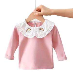 Autumn Girls T-Shirt Long-sleeve Baby Kids Peter pan Collar Bottoming Shirt for Children Clothes New Spring Girl Tops