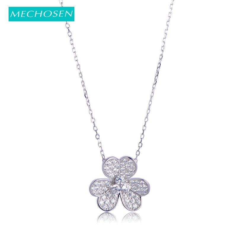 Medhose, colgante de Plata de Ley 925 auténtica con forma de flor, Gargantilla, collar de Zirconia cúbica, joyería fina brillante para mujeres y niñas, kolye
