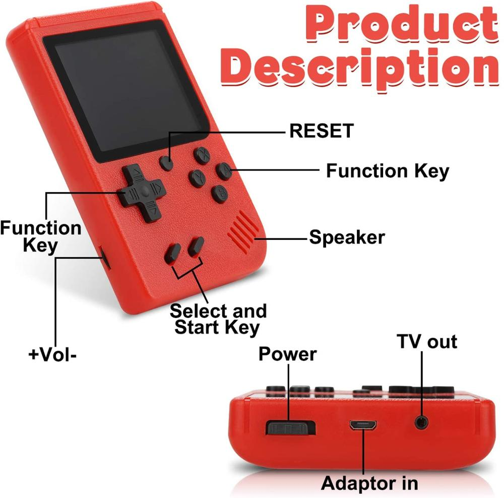 Video Game Consoles Handheld Game Player  Portable 3 Inch 400 Retro Games In 1 Classic 8 Bit LCD Color Screen for Boys Gifts enlarge