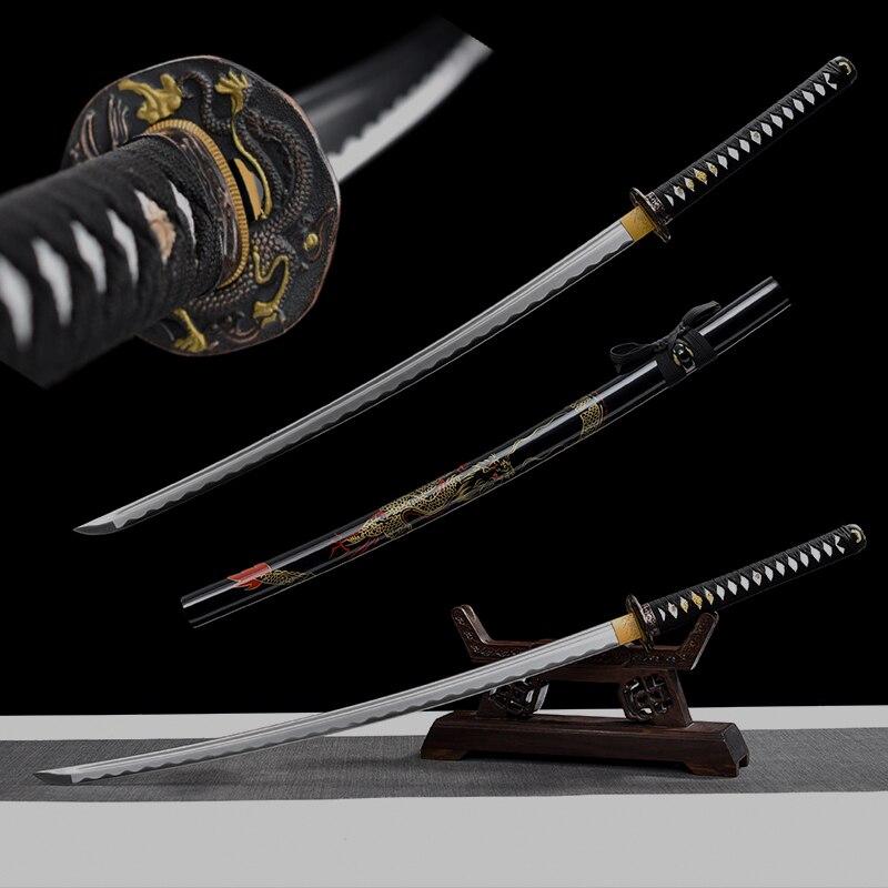 سيف كاتانا الياباني الحقيقي 1045 من الفولاذ الكربوني ، شحذ يدوي لقص كامل ، تنين تانغ ، غمد خشبي ، هامون بو هاي