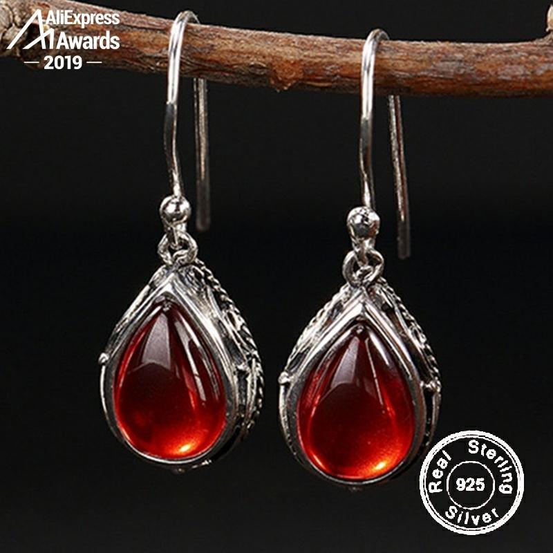 6,18 venta S925 joyería fina rubí gota pendientes gota lágrima hecho a mano Vintage Natural cornalina Retro rubí jaspe rojo
