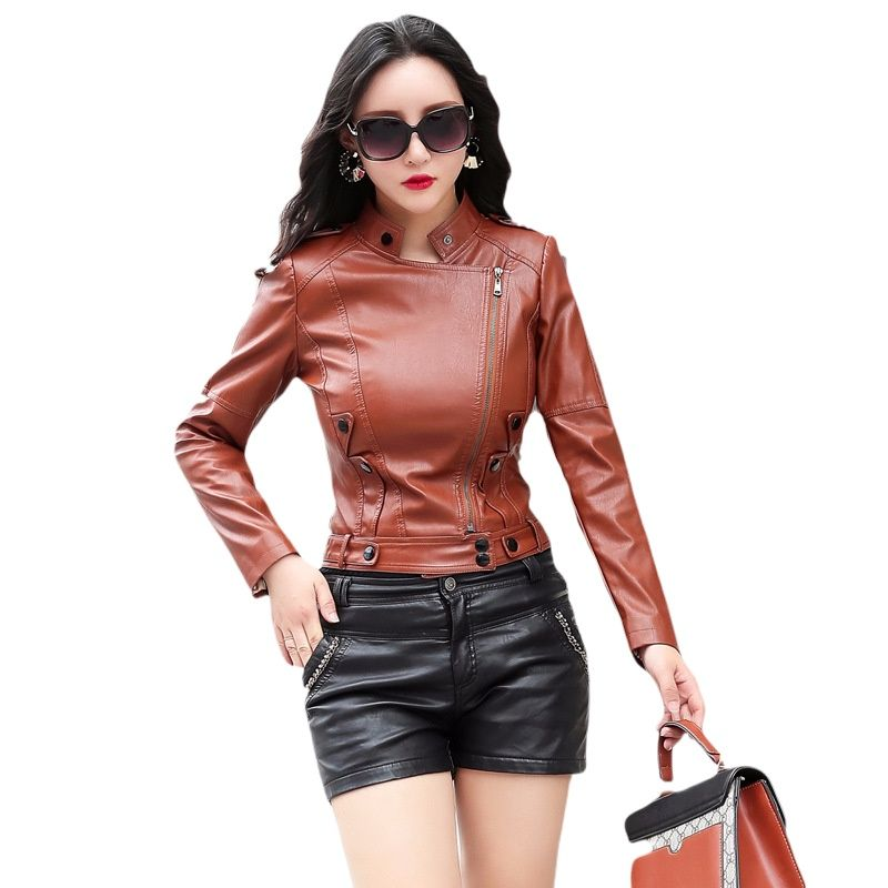 Black faux leather jacket for women fashion  brown leather jacket women biker PU coat women faux leather jackets women Casual