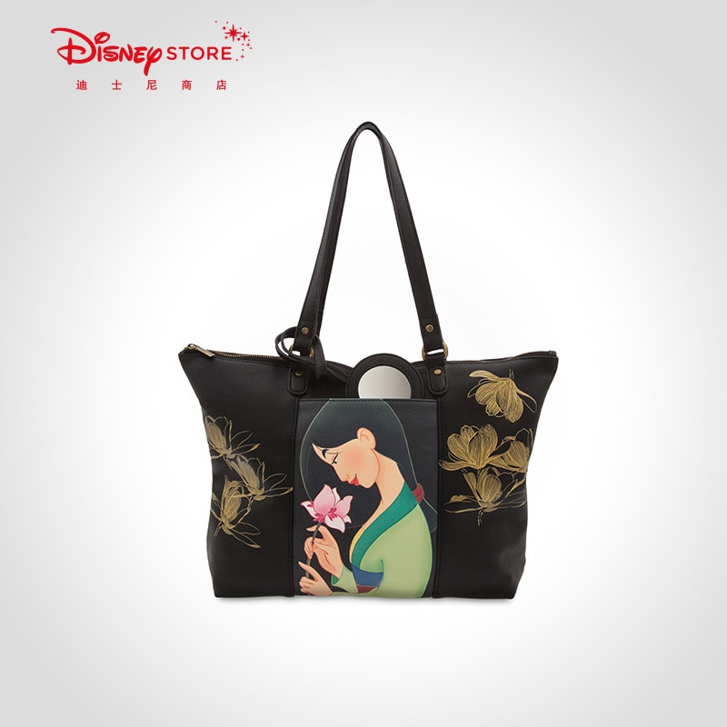 Original Disney Fashion Mulan Tote Bag Large Capacity Women's Single Shoulder Handbag Retro Big Bag
