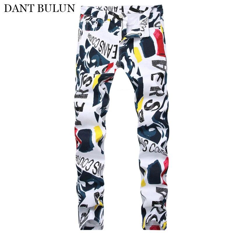 Мужские джинсы, уличная одежда, облегающие джинсы, Стрейчевые черно-белые джинсы с буквенным принтом, Мужские штаны в стиле панк, джинсы в ст...