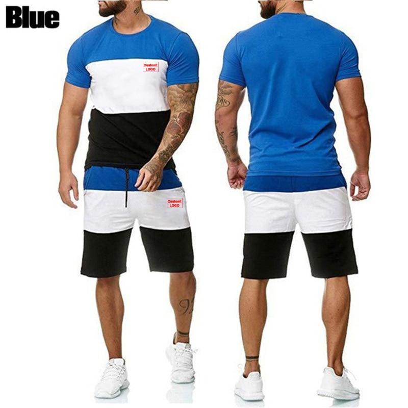 Summer 2021 men's short sleeve shorts, sportswear, two-piece brand, fashion, top retail, outdoor sports,