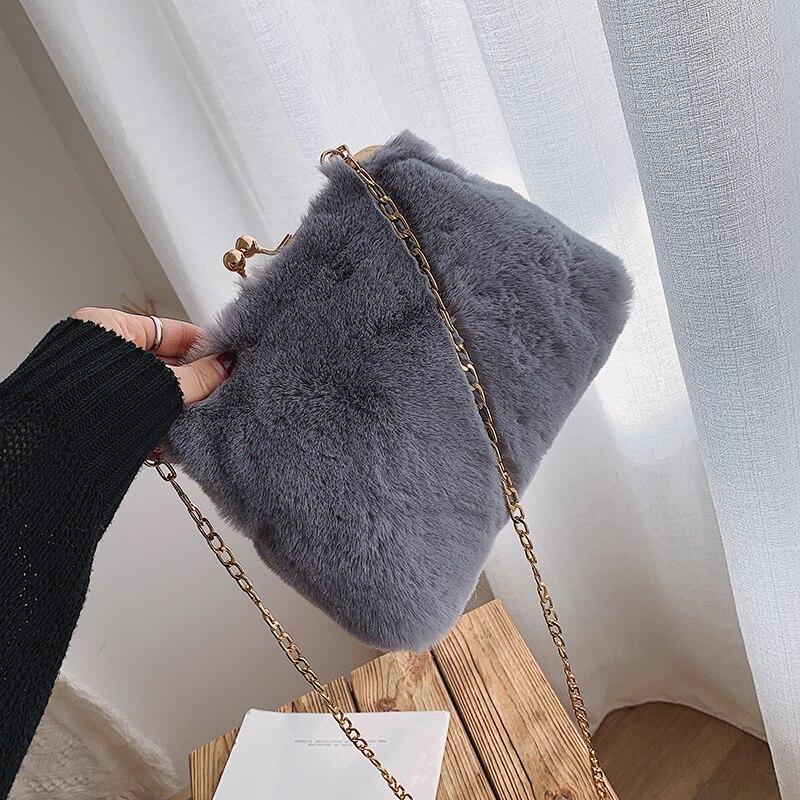 Bolsa de ombro de moda de pelúcia macia das senhoras do falso sacos de mensageiro designer bonito corrente feminina crossbody sacos de festa bolsa sac