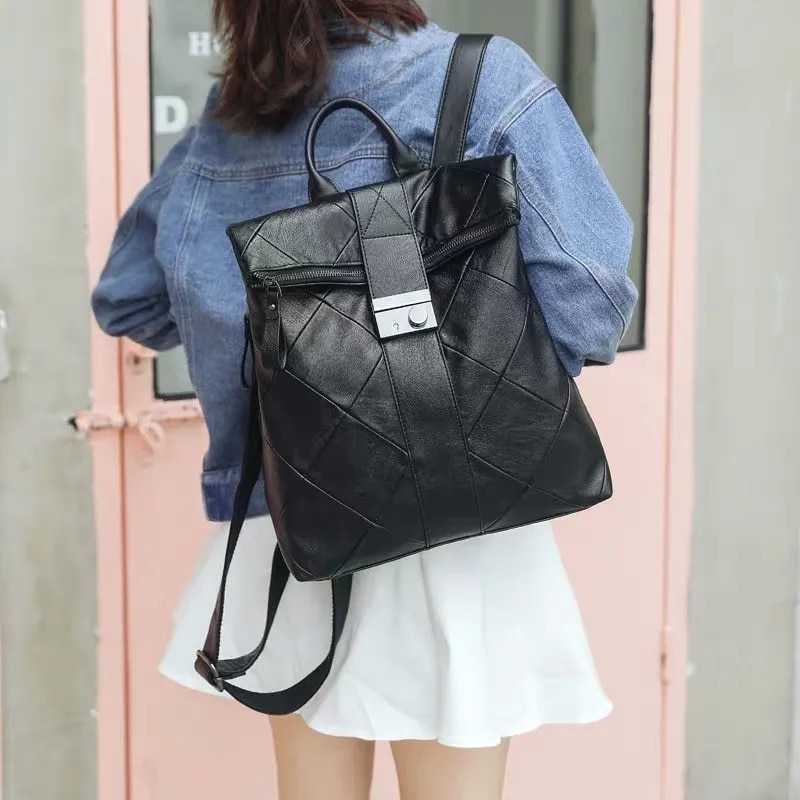 Женский рюкзак, новинка 2021, модный кожаный рюкзак из мягкой кожи, кожаный повседневный Универсальный вместительный школьный рюкзак