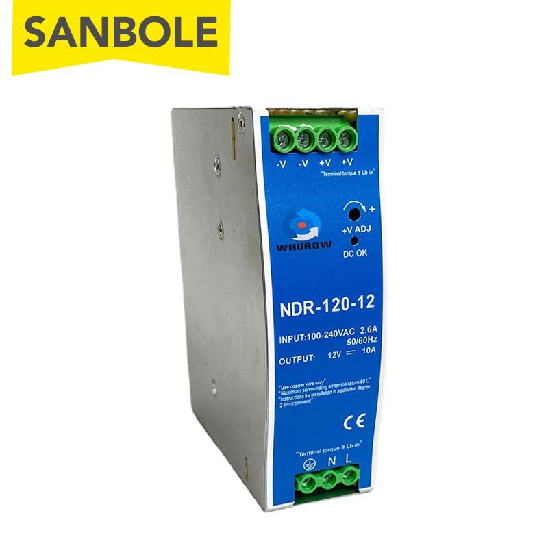 NDR-120-24 الدين السكك الحديدية شنت دليل نوع تحويل التيار الكهربائي رقيقة جدا 12V10A/24V5A 120W المعادن قذيفة AC/DC