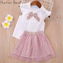 Humor Bär Baby Mädchen Kleidung Kinder Set Mode Bogen Kurzarm T-Shirt + Hose Baby Mädchen Kleidung Set Kinder Cartoon kleidung Set