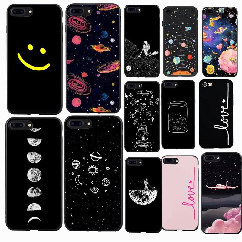 Capa de celular universo estrelado, para iphone 7 8 plus x xs 5 5S se 2020 se 2 6 s 6 s capas para iphone 7 silicone macio capa bonito design