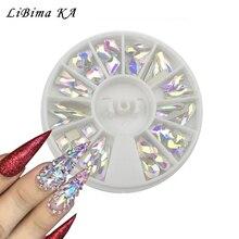 Crystal Ab Nail Gems Rhinestone Voor Nail Art Glitter Glas Wiel Geometrie Blossom Sieraden Diamond Nail Steen Decoratie Manicure