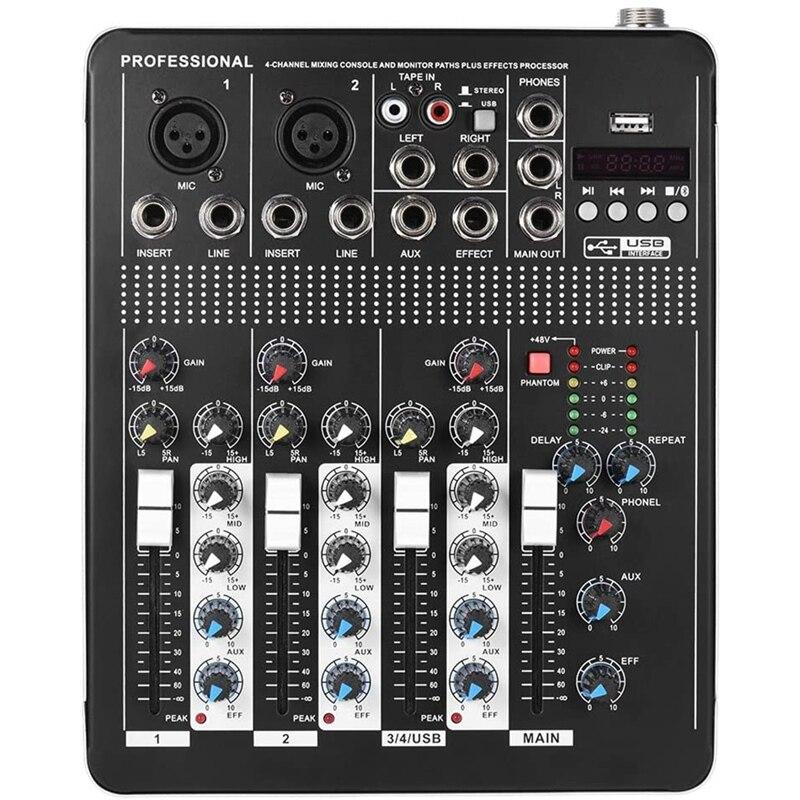 misturador de audio de linha de microfone 4 canais bluetooth com 3 bandas eq 48v