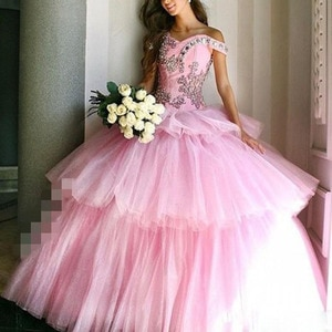 Princess Tiered Layers Skirts Quinceanera Dresses 2021 Sparkly Crystals Elegant Pink Off The Shoulder Lace Up Tulle Sweet Prom B