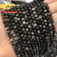 natural stone silver color obsidian beads round loose beads for diy jewelry making bracelets accessories 6 8 10 12 mm 15 strand