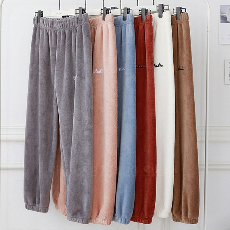 Autumn Winter Elastic Waist Thick Warm Pants Sleepwear for Women Homewear Clothing Flannel Pajamas C