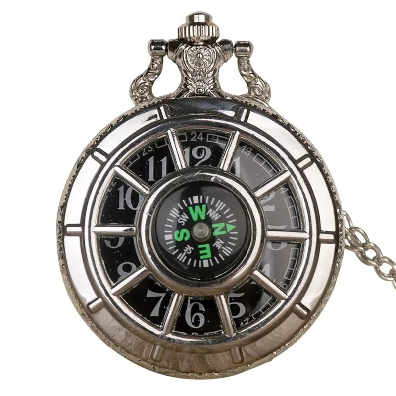 Fashion 40CM Fob Chain Smooth steel Quartz Pocket Watch Bronze Vintage Quartz Pocket Watch Chain Necklace Pendant Clock Gift fob chain pendant antique style yellow gold glossy smooth case steampunk gift fashion full hunter quartz pocket watch men women