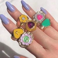 new colorful geometry chunky enamel rings trendy colorful flower finger ring colorful for women kids ring stacked girls children