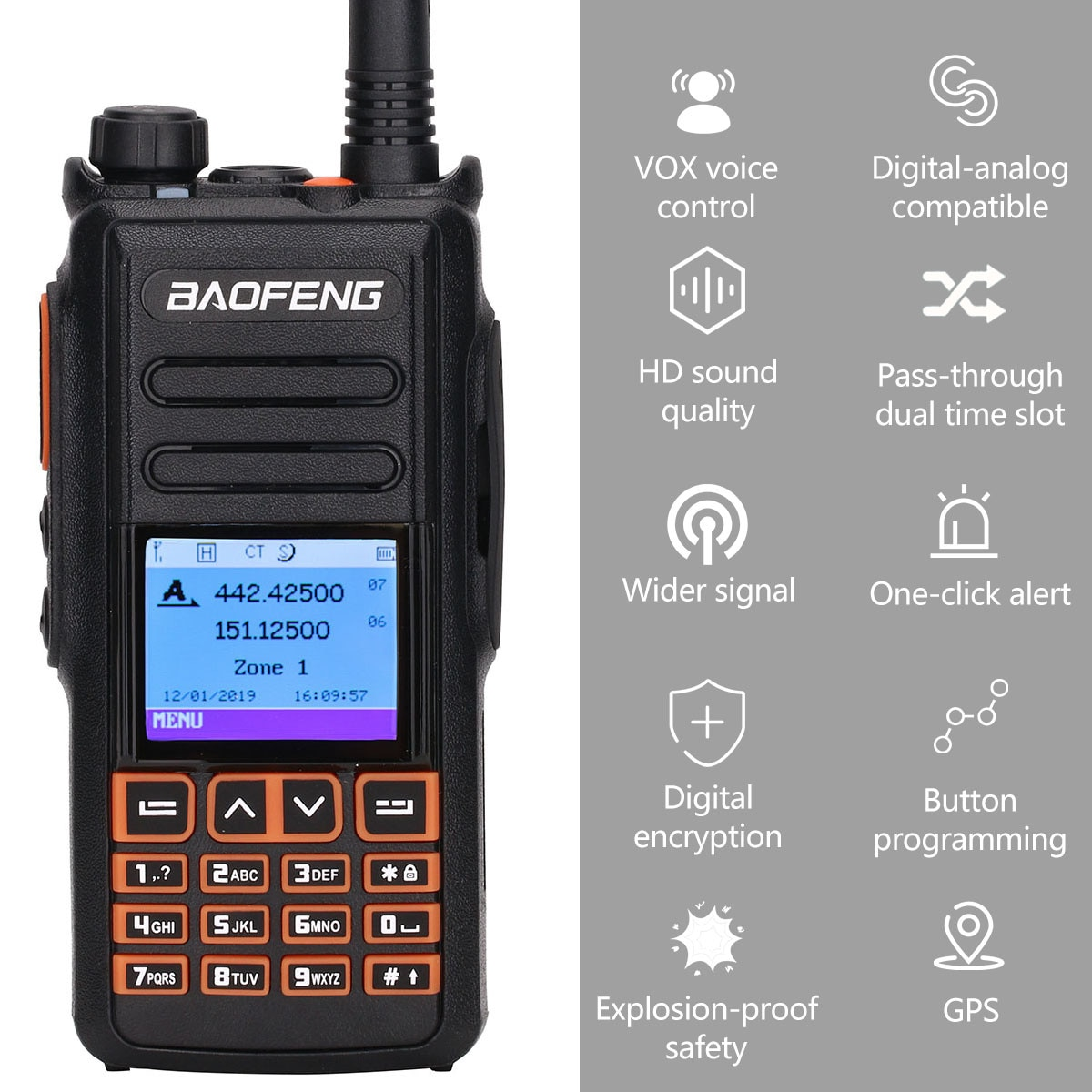 BaoFeng DM-X DMR digital walkie talkie GPS vhf uhf dual band 136-174 & 400 - 470MHz Dual Time Slot Ham Two Way Radi enlarge