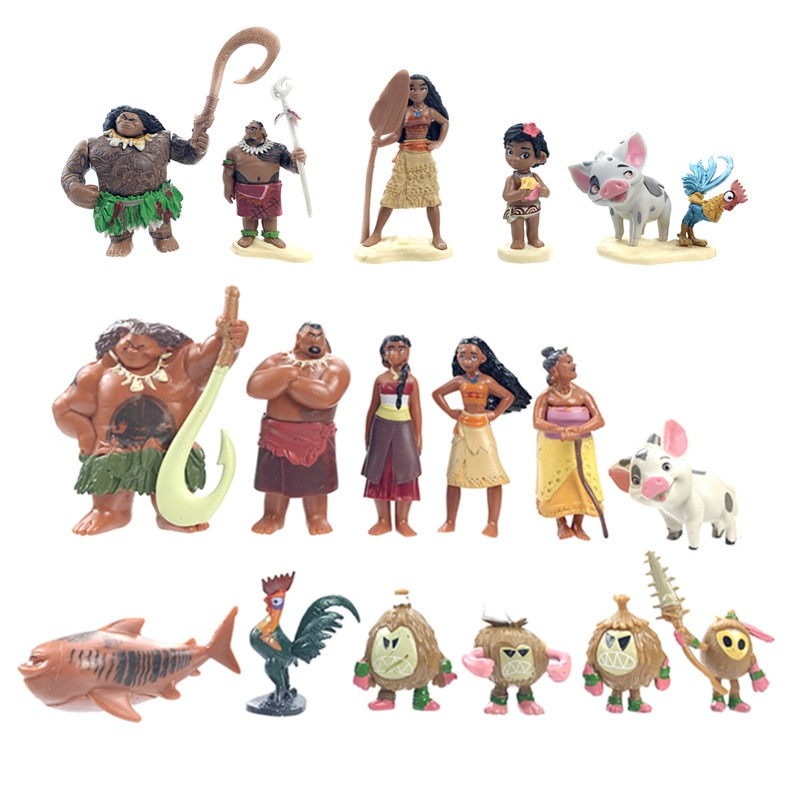 Экшн-фигурки Disney, набор кукол-Моаны из популярного фильма «Моана», Мауи, Моана ваялики, 12 шт./компл., игрушка, модель, подарок на день рождения ...