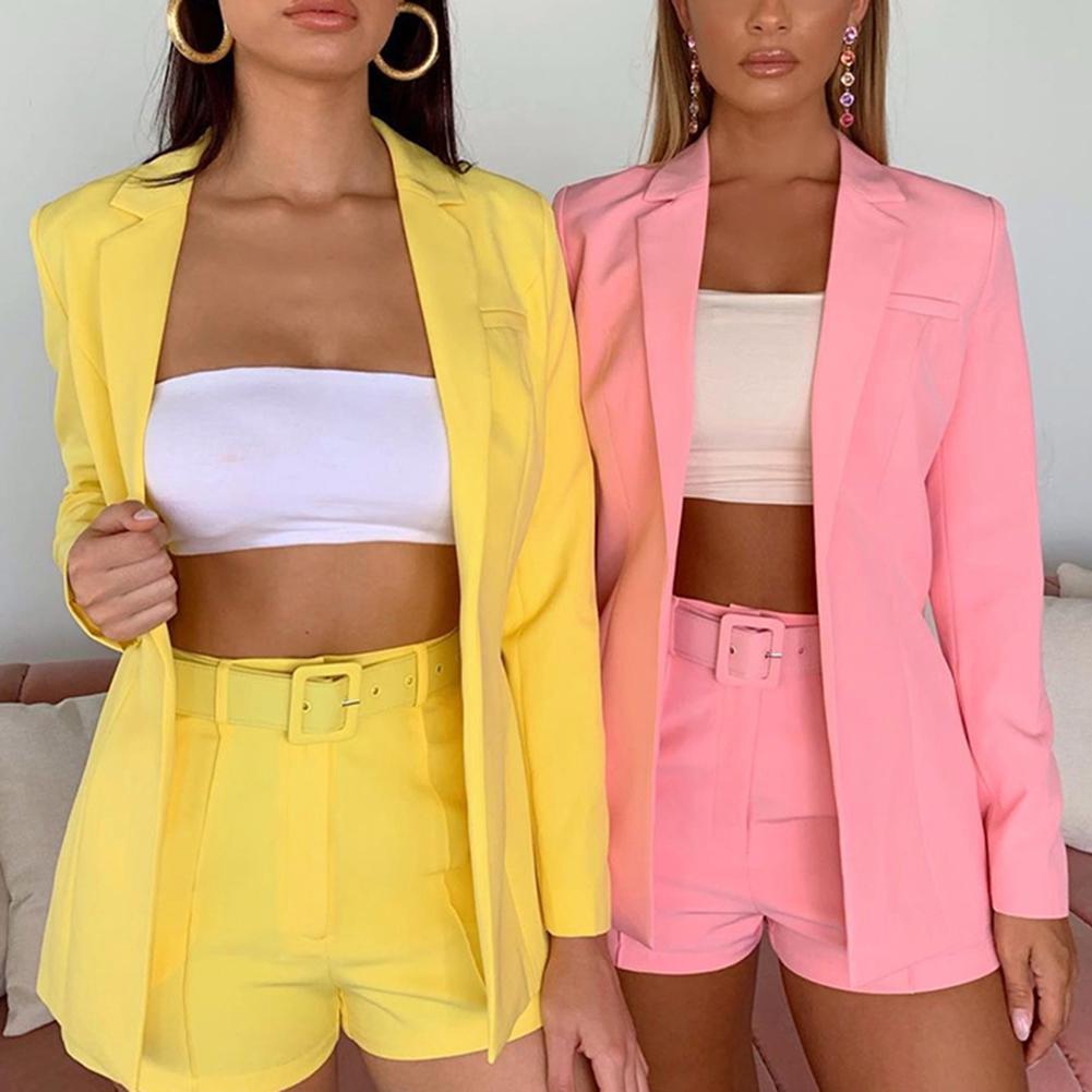 2Pcs Office Lady Women Short Suits Solid Color Lapel Collar Blazer High Waist Belt Short Pants Jacket Coat Set Plus Size