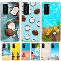 fruit coconut summer blue sky silicone skin case for huawei p40 p30 p20 mate 20 10 p10 pro lite p smartz plus 2019 2018 cover