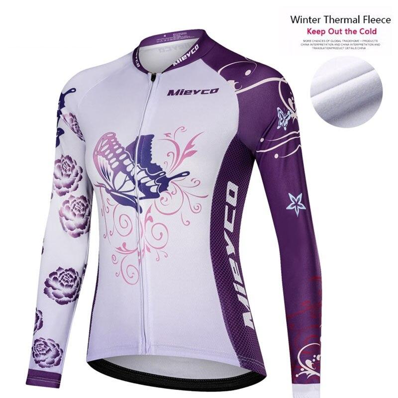 Ropa de ciclismo para mujer, jersey térmico de lana, maillot de manga...
