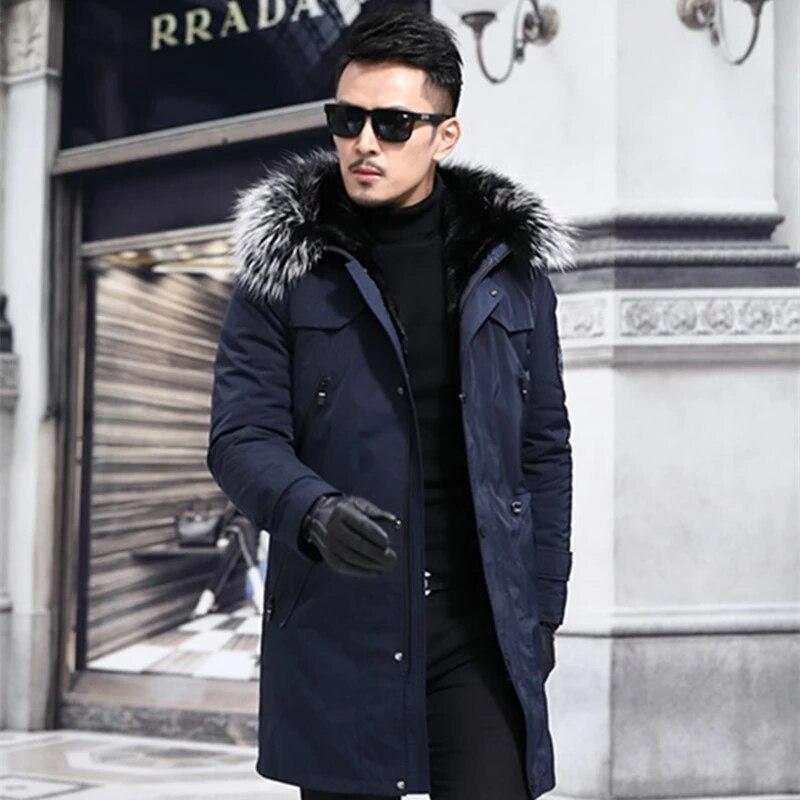 جديد 2021 معاطف الرجال الشتوية الدافئة القابلة للإزالة المنك المثانة مقنعين معطف الموضة الذكور الأعمال عادية رشاقته خندق ملابس خارجية 6XL