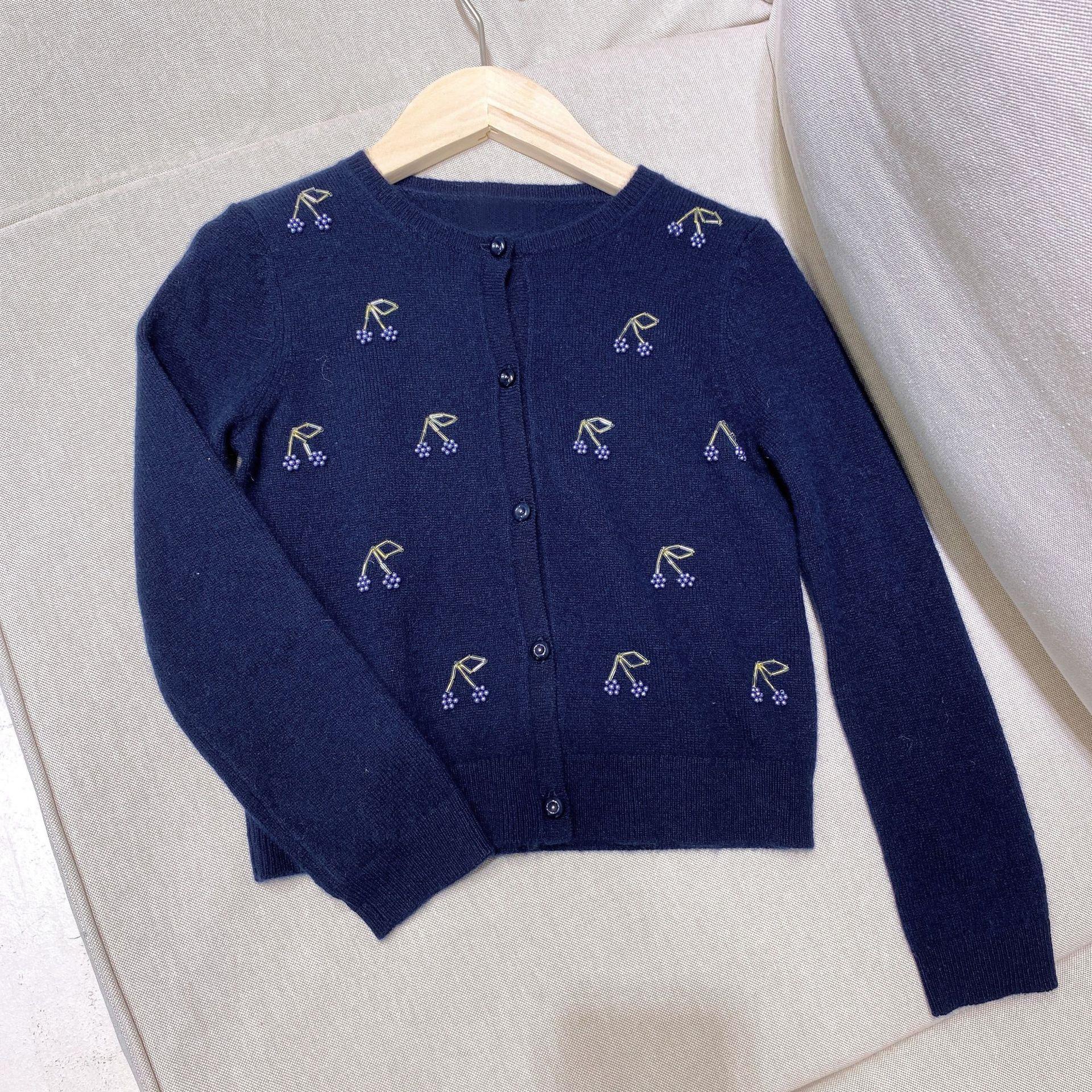 Chaquetas para niños niñas azul oscuro cereza de punto con perlas cardigan color sólido alta calidad suave y suéter cómodo