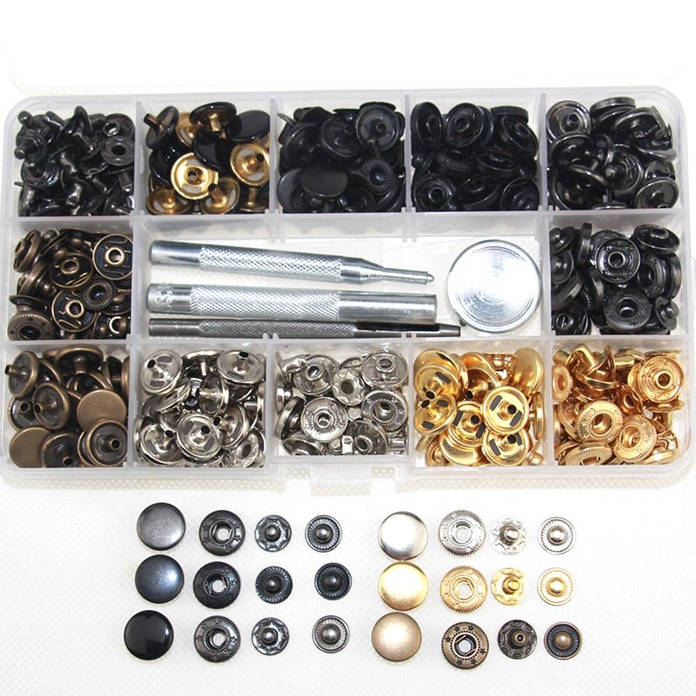 Set de broches de presión 120, Kit de cierres a presión hechos a mano, chaquetas duraderas, 4 herramientas de corte para ropa, caja de almacenamiento de latón y cuero en 6 colores