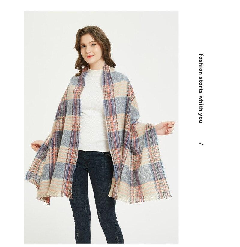 2020 neue mode quaste doppelseitige grid Bunte gitter Kaschmir schal warm Halten bandana foulard femme hijab schal frauen