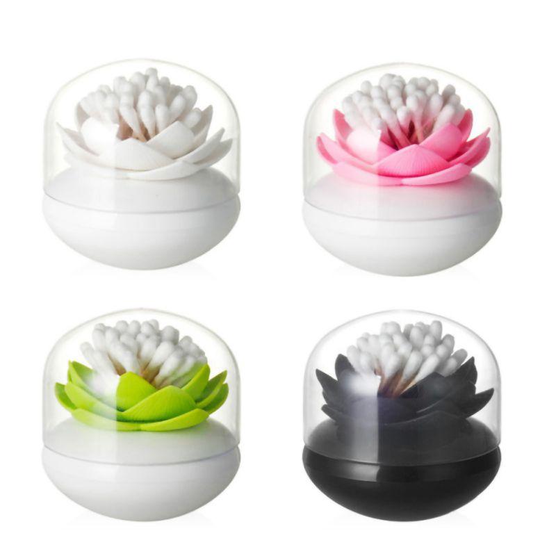 Lotus Dustproof Cotton Swab Bud Holder Dispenser Organizer Storage Box Exotic Desk Toothpick Storage Box