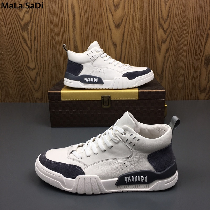 2019 New Autumn Men's Leather High Shoes Men's Korean Version Of The Wild White Daily Casual Men's Tide