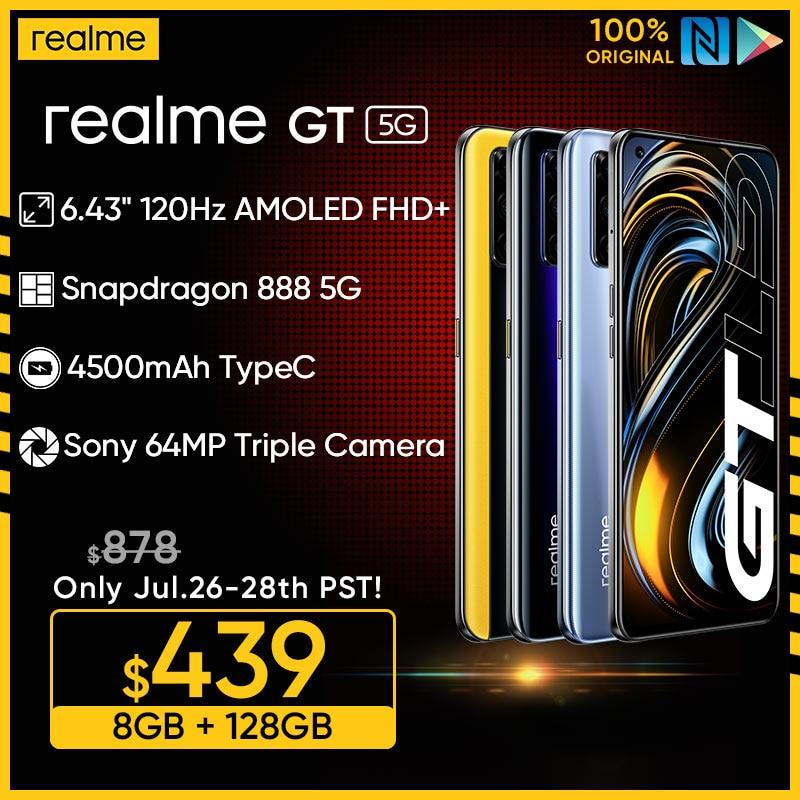 Realme GT глобальная версия, док-станция Qualcomm Snapdragon 888 5G процессор 65 Вт SuperDart заряда 120Hz обновленный 6,43 дюйм FHD + безрамочный экран AMOLED 8 ГБ 128 NFC
