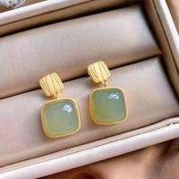 earrings lady temperament short high grade round face suitable hetian gray jade earrings geometric sterling silver gold stud