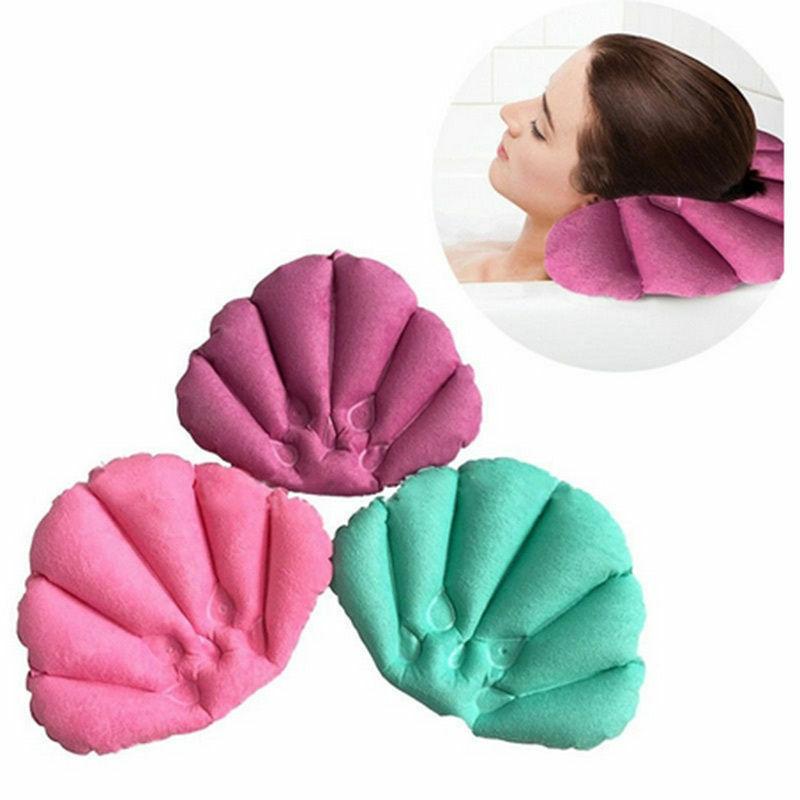 1 pc Soft Spa Inflatable Bath Pillow Cups Shell Shaped Neck Bathtub Pillows