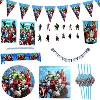 108pcslot super hero theme loot bags cake toppers tablecloth birthday party napkin plates cups tablecloth flags decorate banner