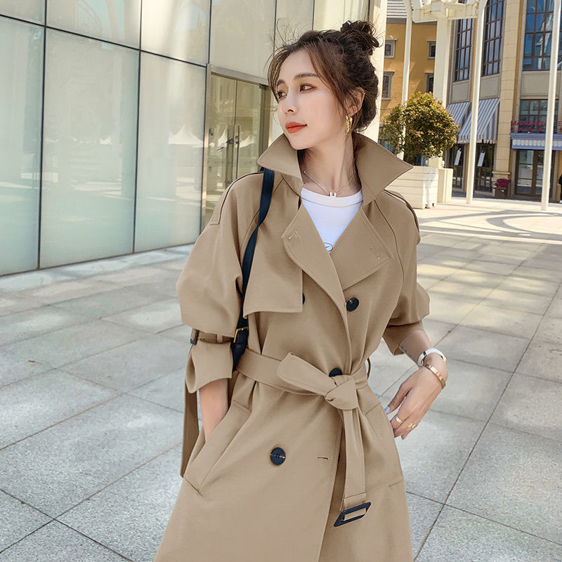 Brand New Spring Autumn Long Women Trench Coat Double Breasted Belted Simple Classic Loose Coat Lady Outerwear Windbreaker chic women s trench coat spring autumn belted short coat fashion slim fit double breasted short trench coat g092