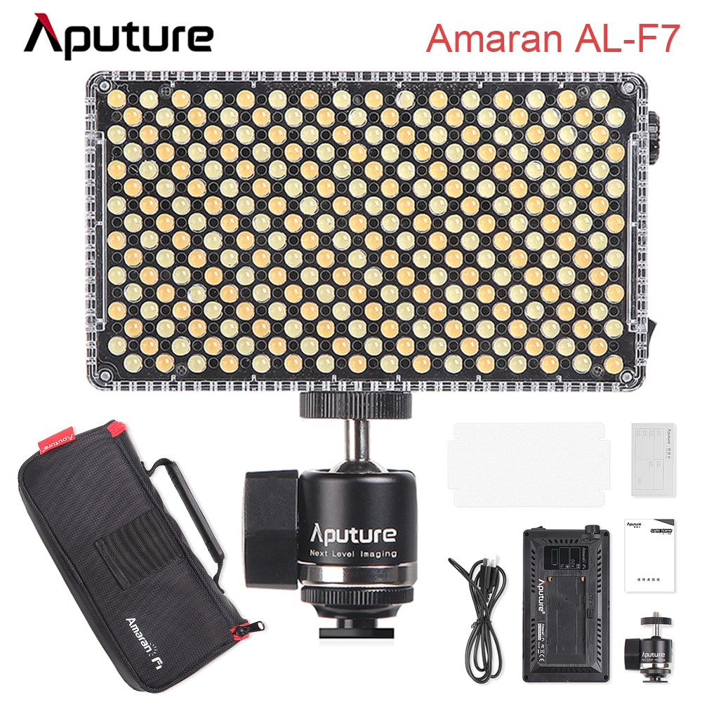 Aputure أماران AL-F7 LED التصوير ضوء درجة حرارة اللون 3200K-9500K CRI 95 + TLCI 95 + الفيديو الإضاءة اختياري عدة البطارية