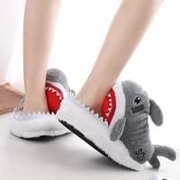 top quality animal shoes for teens girls winter shark slippers fluffy woman shoe gray fish indoor home warm casual slippers