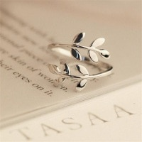Открытые Кольца с листьями для женщин и девушек, модное кольцо с изменяемым размером растения под розовое золото, обручальное, свадебное, ве...