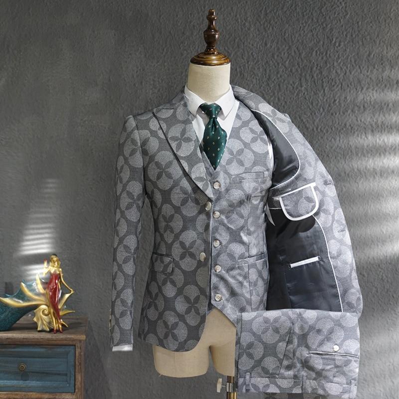 Ternos Masculino تناسب الرجال الترفيه الأعمال فستان رسمي الاتجاه طباعة العريس فستان الزفاف النمط البريطاني التدخين Homme Mariage