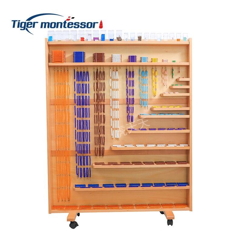 مونتيسوري مواد الرياضيات الخشبية مجموعة من الخرز وخزانة خشب النحل مع الخرز الاكريليك