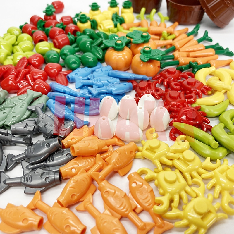 City Friends Accessories Parts Building Blocks Fruit Bread Food Banana Compatible Bricks Toys for MOC DIY Kit