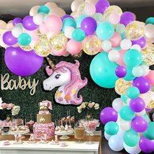 Licorne ballons arche 114 pièces guirlande Kit rose violet vert pour bébé douche licorne thème fête danniversaire fond décoration