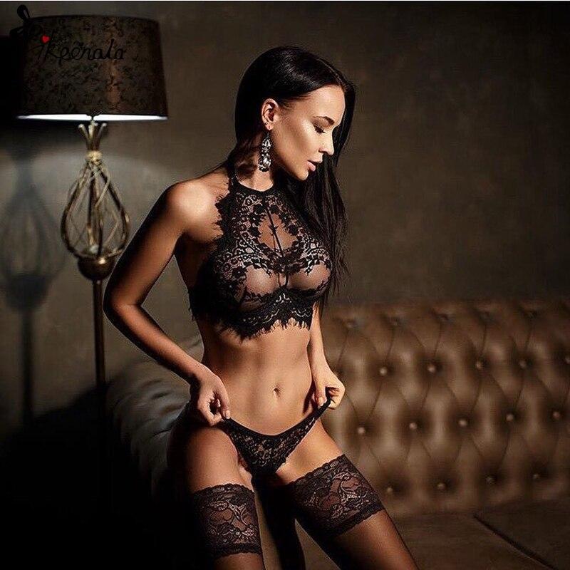 Conjunto de lencería con encaje para mujer, ropa interior negra transparente, lencería erótica de mujer sexi