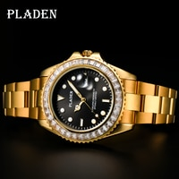 PLADEN Quartz Watches Man Pure Emerald Diamond Trend Quartz Movt Parachute Relog Chronograph Birthday Men Gift Relojes De Hombre