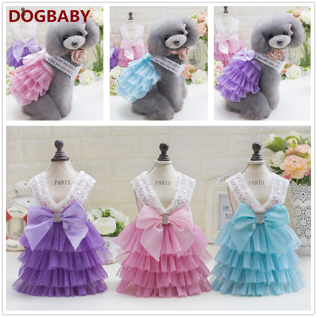 Summer Dog Lace Tullle Dress Chihuahua Wedding Party Dress Skirt Puppy Bowknot Spring Dresses Pet Clothes For Small Dog Costume