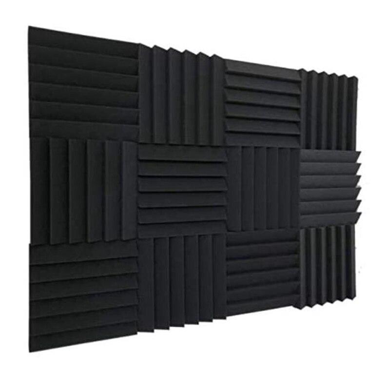 12 قطعة ألواح فوم صوتية ، بلاط إسفين عالي الكثافة حشوة صوتية للمنزل أو الاستوديو عزل الصوت ، 30X30X5cm