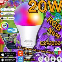 Smart Bulb Lampada LED RGB Color Changing Lamp E27 B22 Dimmable Light RGBW Magic Bulb 20W WIFI/IR Remote Control Lighting Alexa